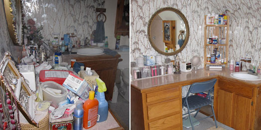 Before and after organizing bathroom counters